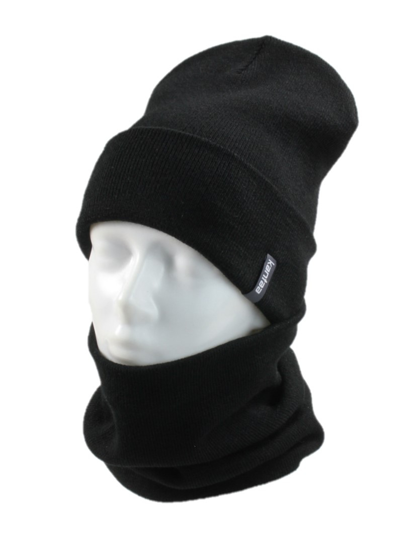 Вязаная шапка с Buff снуд КАНТА унисекс размер взрослый, черный (OC-062)