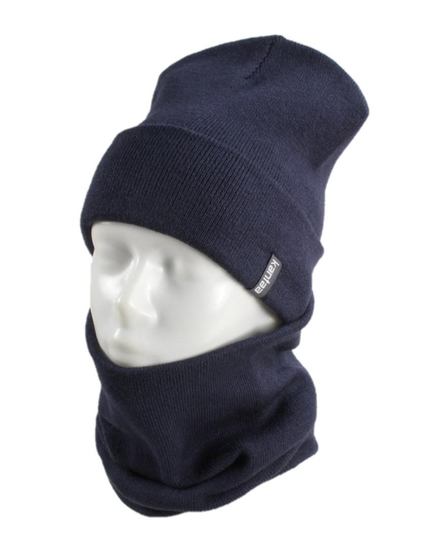 Вязаная шапка с Buff снуд КАНТА унисекс размер взрослый, синий (OC-064)