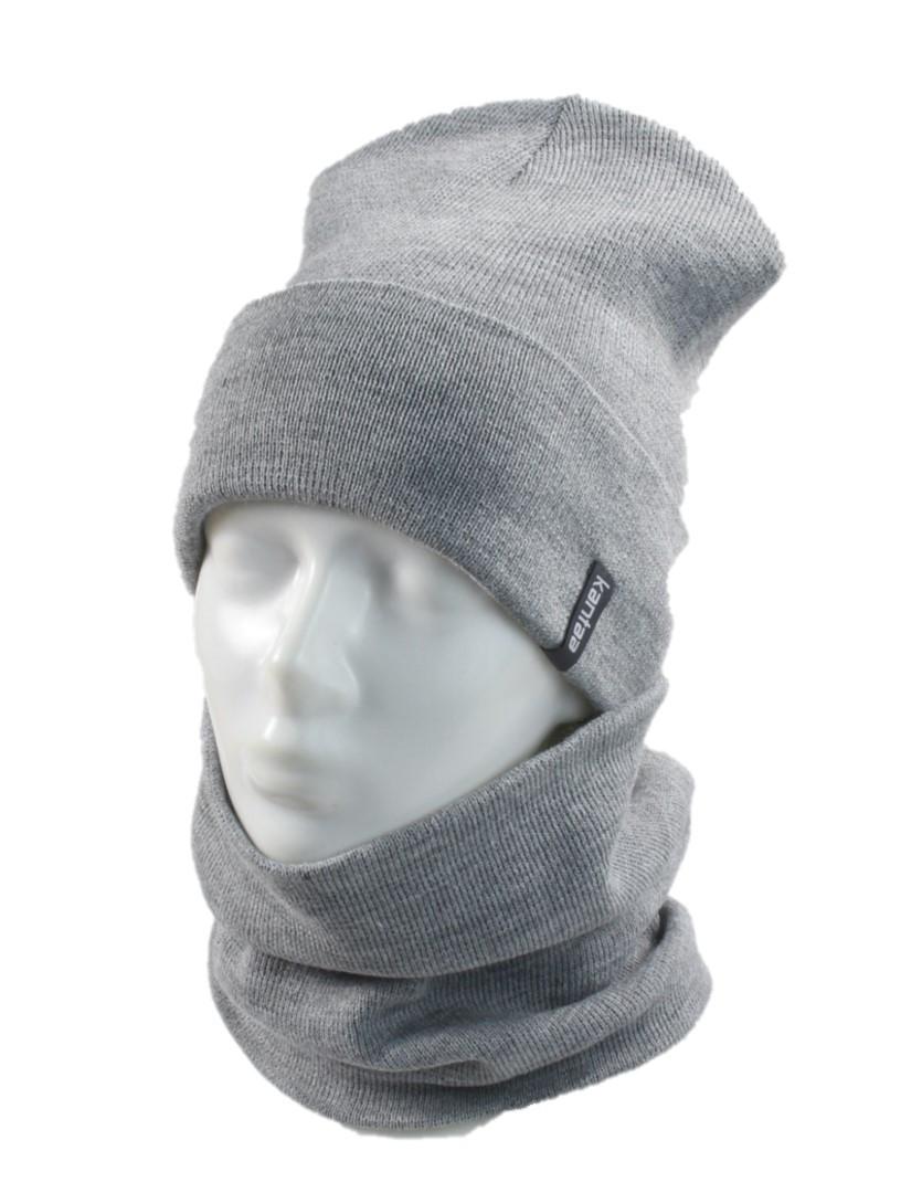 В'язана шапка з Buff снуд КАНТА унісекс розмір дорослий, сірий (OC-065)
