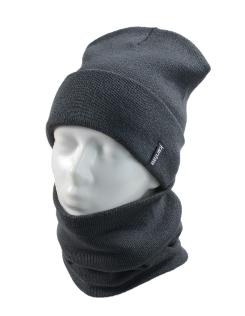 Вязаная шапка с Buff снуд КАНТА унисекс размер взрослый, серый (OC-066)