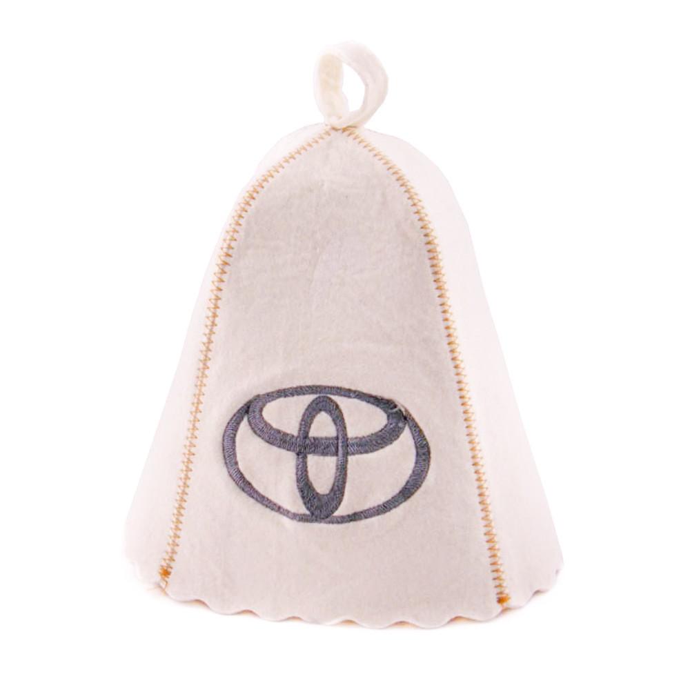 """Банная шапка Luxyart """"Toyota"""", натуральный войлок, белый (LA-195)"""