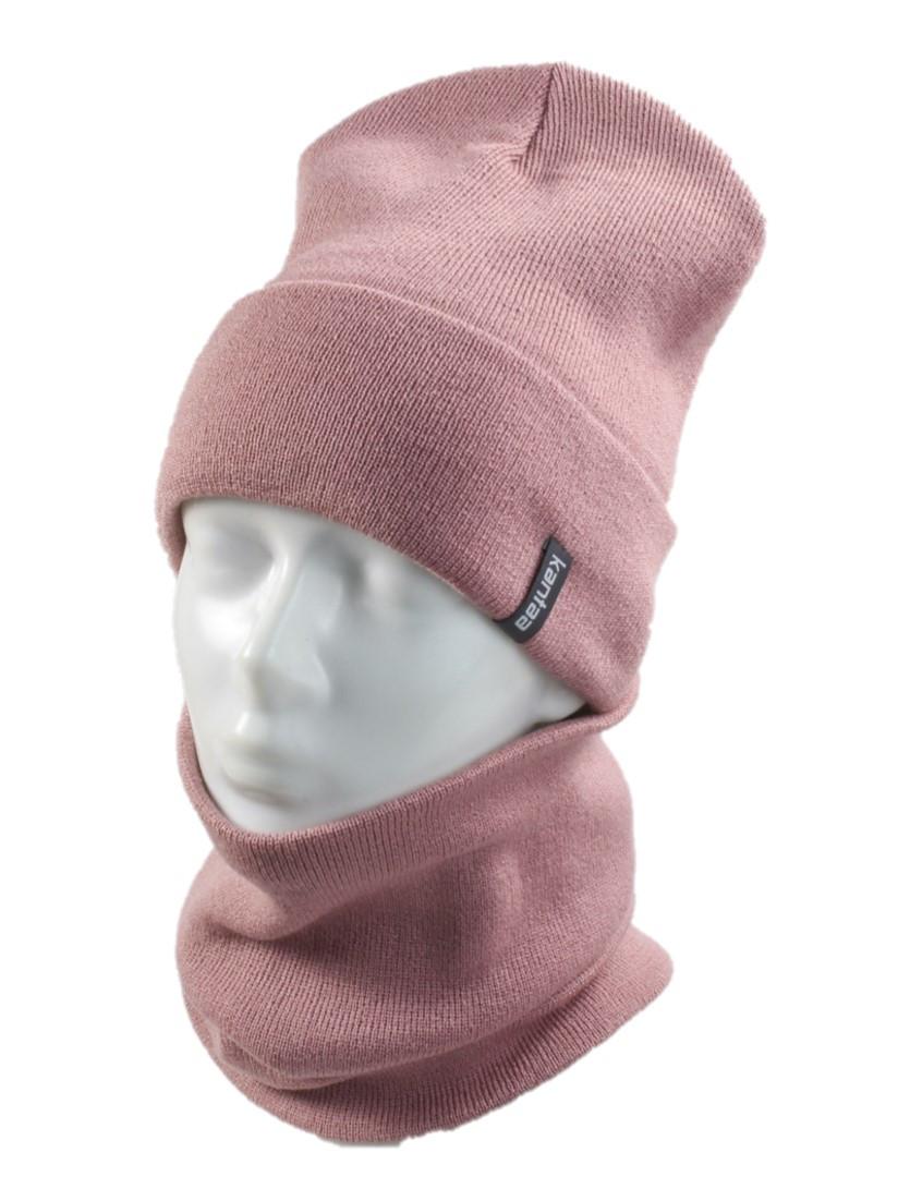 Вязаная шапка с Buff снуд КАНТА женский размер взрослый, пудра (OC-069)