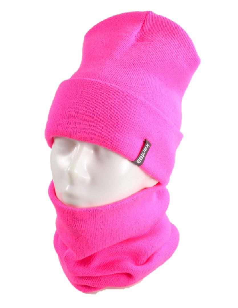 В'язана шапка з Buff снуд КАНТА жіночий розмір дорослий, рожевий (OC-072)