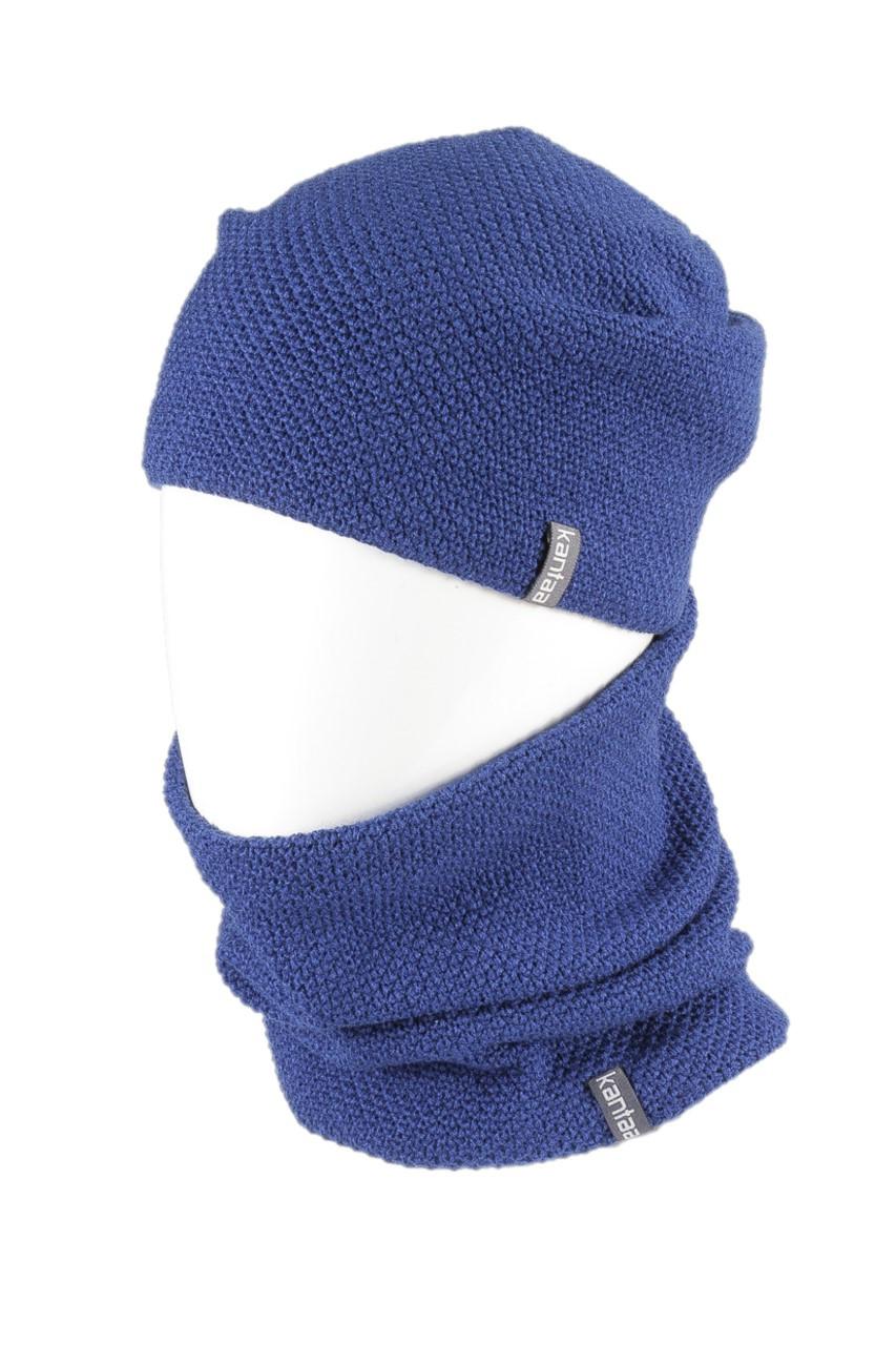 Вязаная шапка с Buff снуд КАНТА унисекс размер взрослый, синий (OC-075)