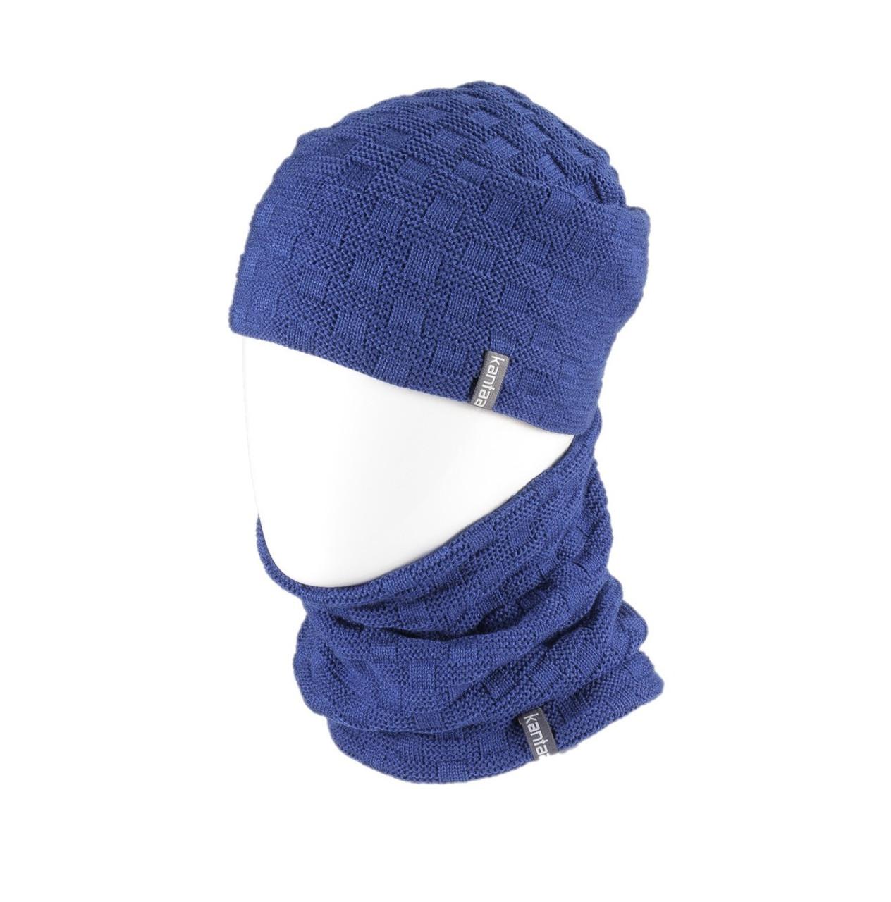 Вязаная шапка с Buff снуд КАНТА унисекс размер взрослый, синий (OC-078)