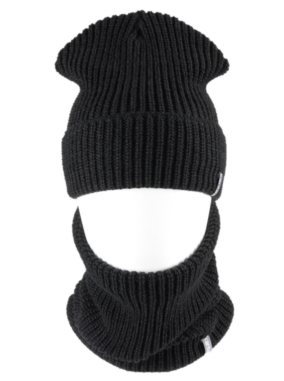 Вязаная шапка с Buff снуд КАНТА унисекс размер взрослый, черный (OC-080)