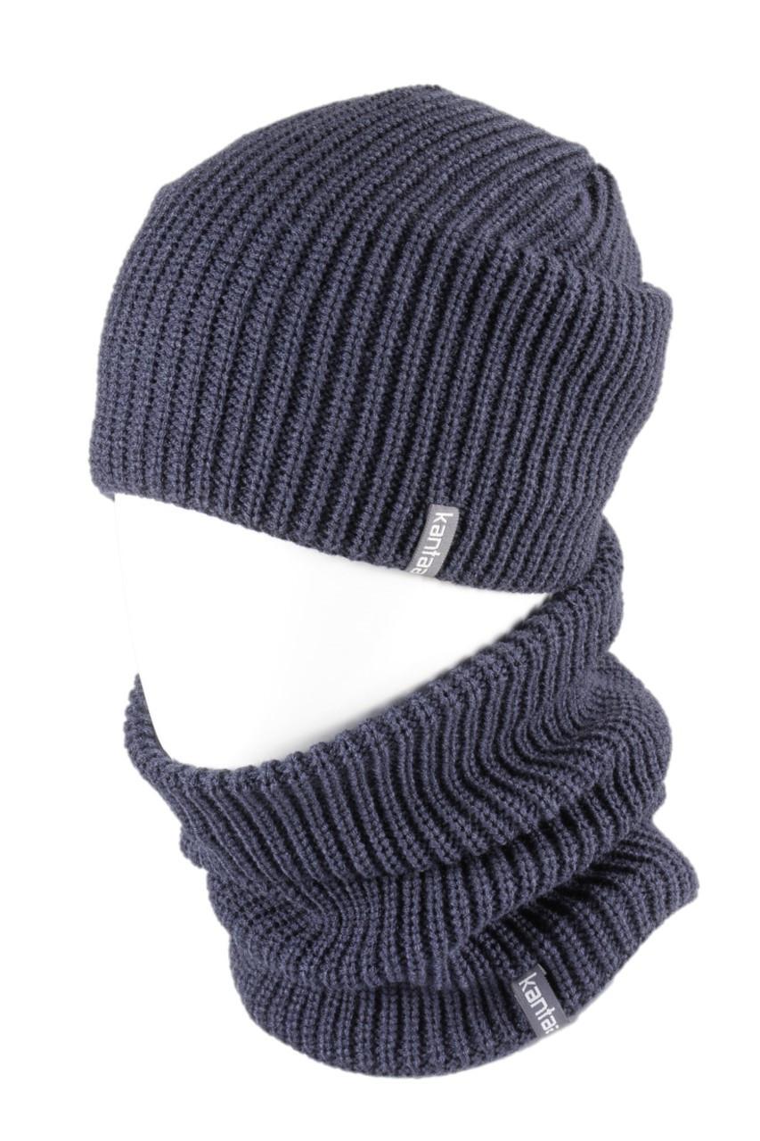 Вязаная шапка с Buff снуд КАНТА унисекс размер взрослый, синий (OC-082)
