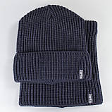Вязаная шапка с Buff снуд КАНТА унисекс размер взрослый, синий (OC-089), фото 3