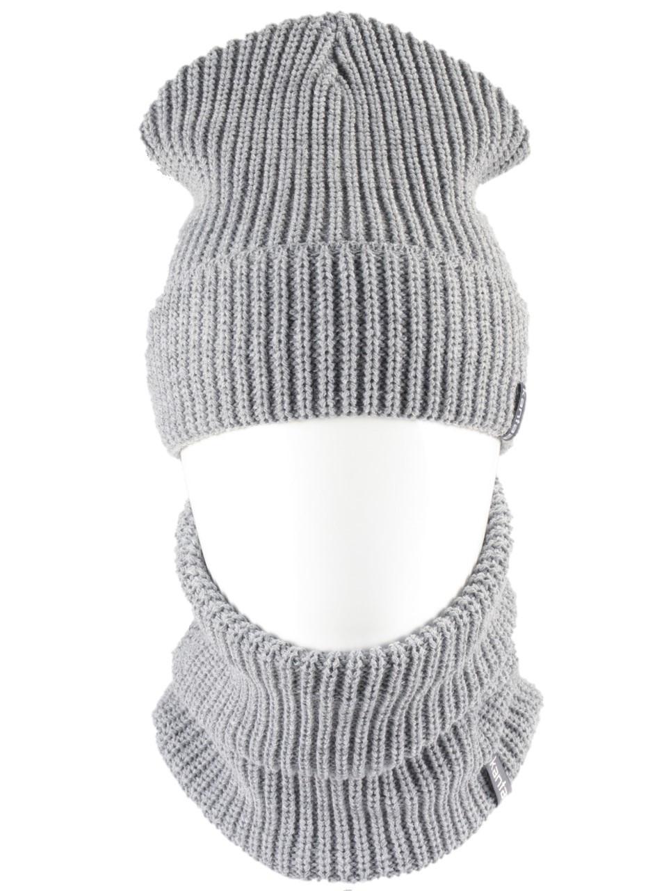 В'язана шапка з Buff снуд КАНТА унісекс розмір дорослий, сірий (OC-090)