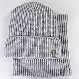 В'язана шапка з Buff снуд КАНТА унісекс розмір дорослий, сірий (OC-090), фото 3