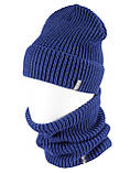 Вязаная шапка с Buff снуд КАНТА унисекс размер взрослый, синий (OC-093), фото 2