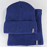 Вязаная шапка с Buff снуд КАНТА унисекс размер взрослый, синий (OC-093), фото 3