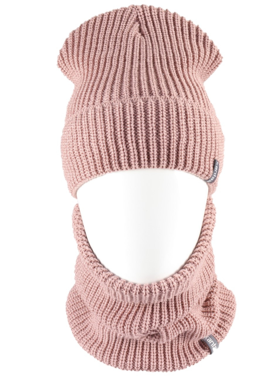 Вязаная шапка с Buff снуд КАНТА унисекс размер взрослый, пудра (OC-094)