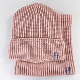 Вязаная шапка с Buff снуд КАНТА унисекс размер взрослый, пудра (OC-094), фото 3