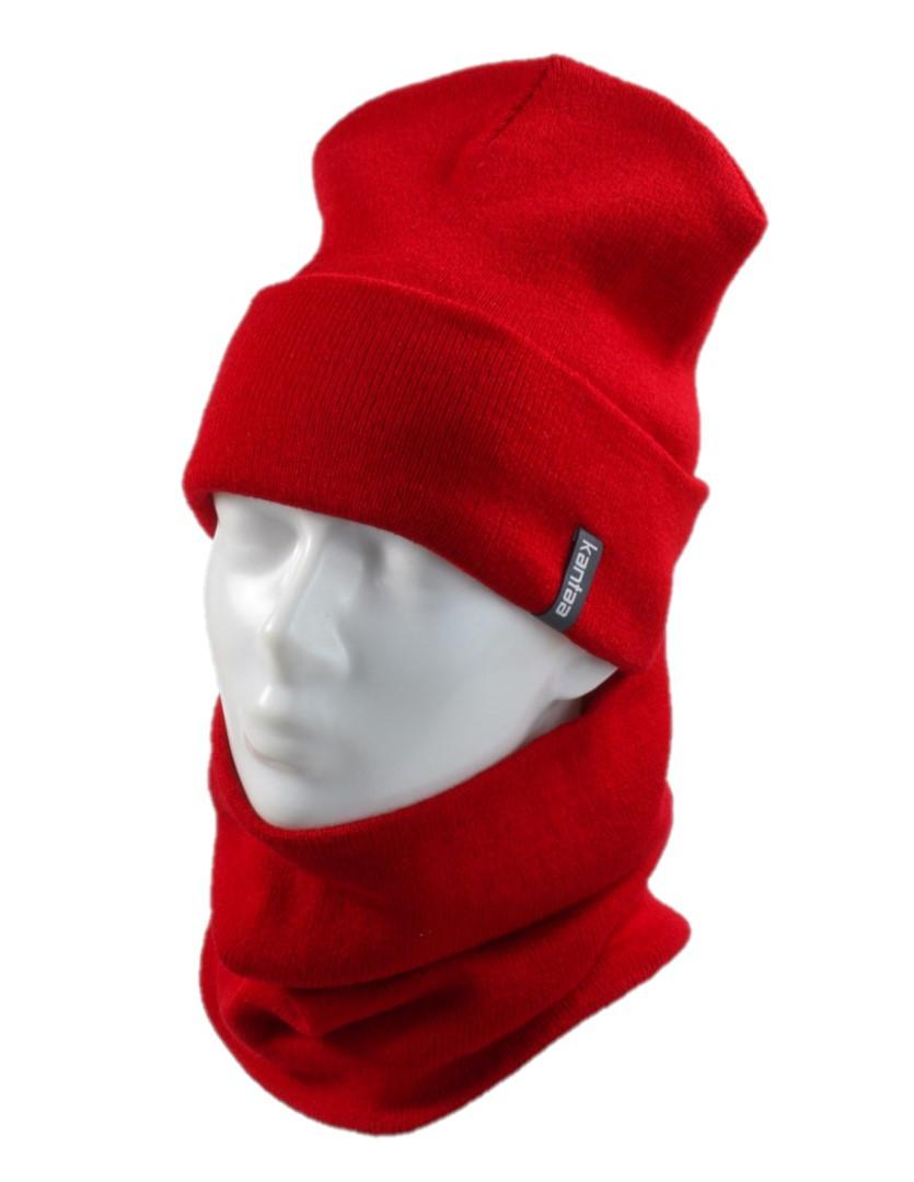 Вязаная шапка с Buff снуд КАНТА унисекс размер взрослый, красный (OC-095)
