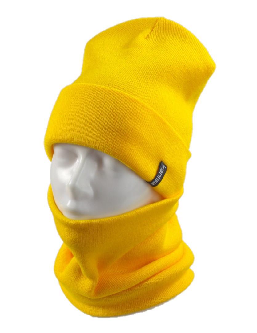 Вязаная шапка с Buff снуд КАНТА унисекс размер взрослый, желтый (OC-096)