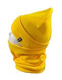 Вязаная шапка с Buff снуд КАНТА унисекс размер взрослый, желтый (OC-096), фото 2