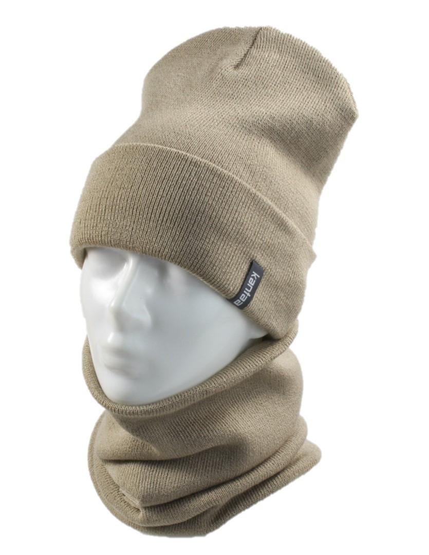 Вязаная шапка с Buff снуд КАНТА унисекс размер взрослый, беж (OC-098)