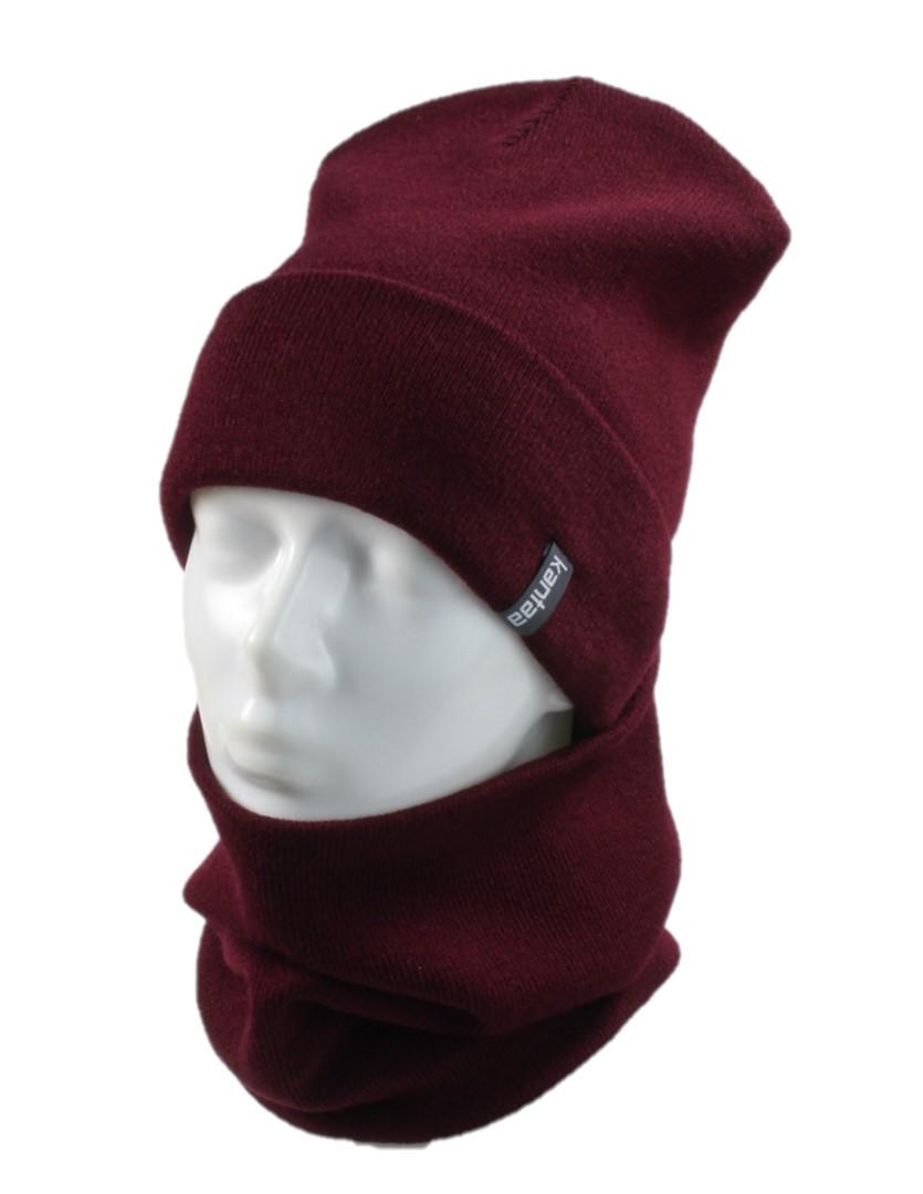 Вязаная шапка с Buff снуд КАНТА унисекс размер взрослый, бордо (OC-099)