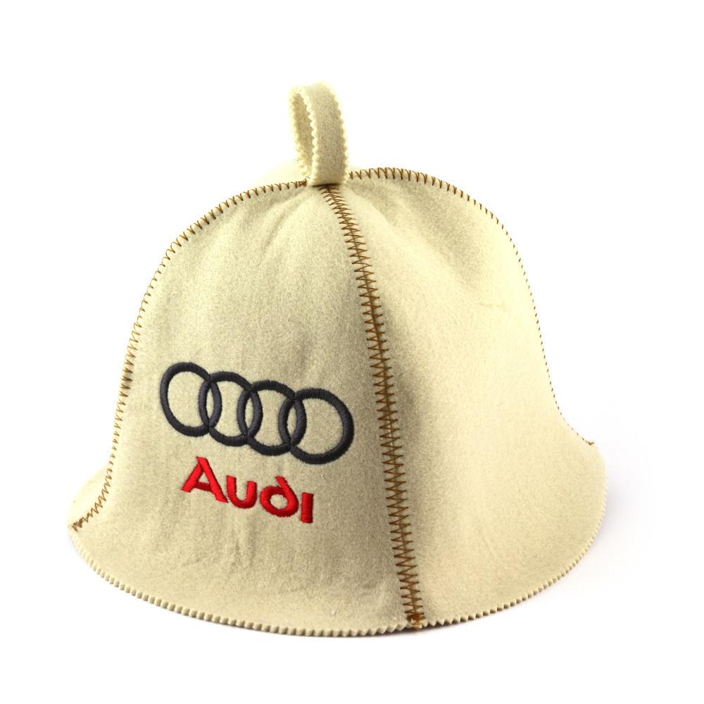 """Банная шапка  """"Audi"""", искусственный фетр, белый"""