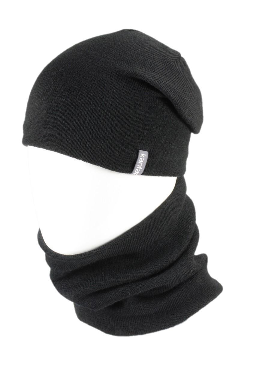 Вязаная шапка с Buff снуд КАНТА унисекс размер взрослый, черный (OC-105)