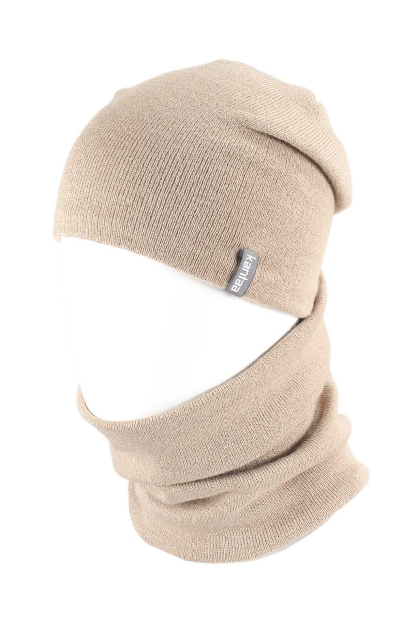 В'язана шапка з Buff снуд КАНТА унісекс розмір дорослий, бежевий (OC-113)