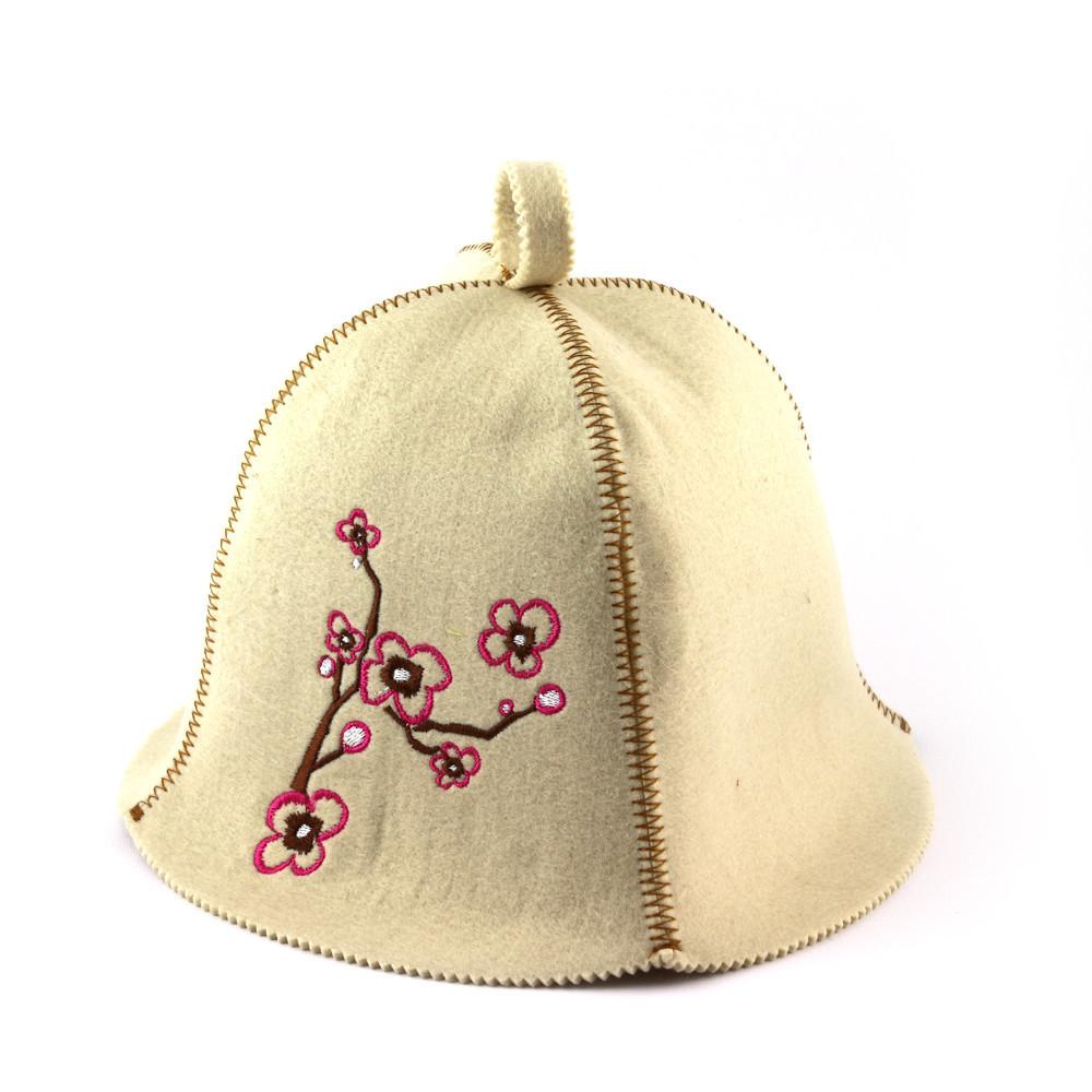 """Банная шапка Luxyart """"Сакура"""", искусственный фетр, белый (LA-361)"""
