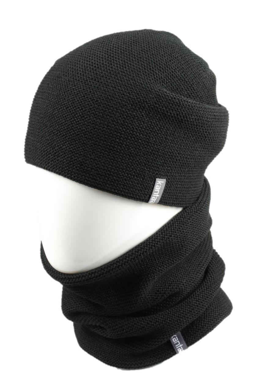 Вязаная шапка с Buff снуд КАНТА унисекс размер взрослый, черный (OC-116)