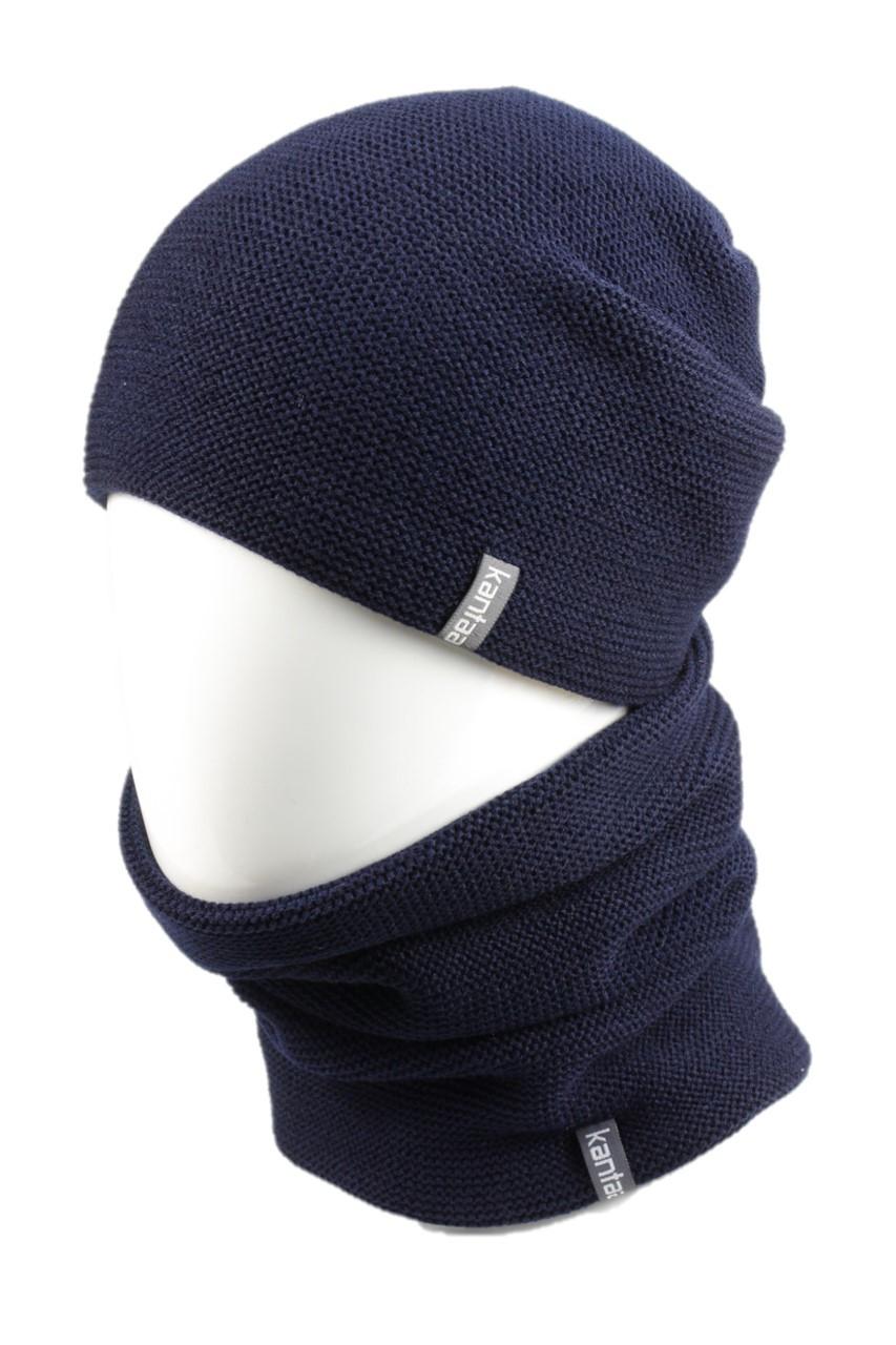 Вязаная шапка с Buff снуд КАНТА унисекс размер взрослый, синий (OC-117)