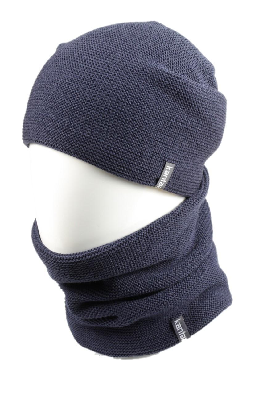 Вязаная шапка с Buff снуд КАНТА унисекс размер взрослый, синий (OC-118)