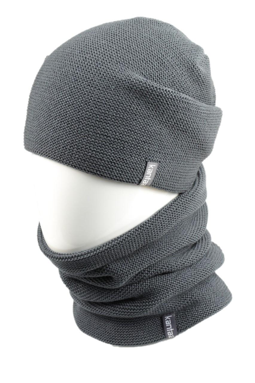 Вязаная шапка с Buff снуд КАНТА унисекс размер взрослый, серый (OC-120)