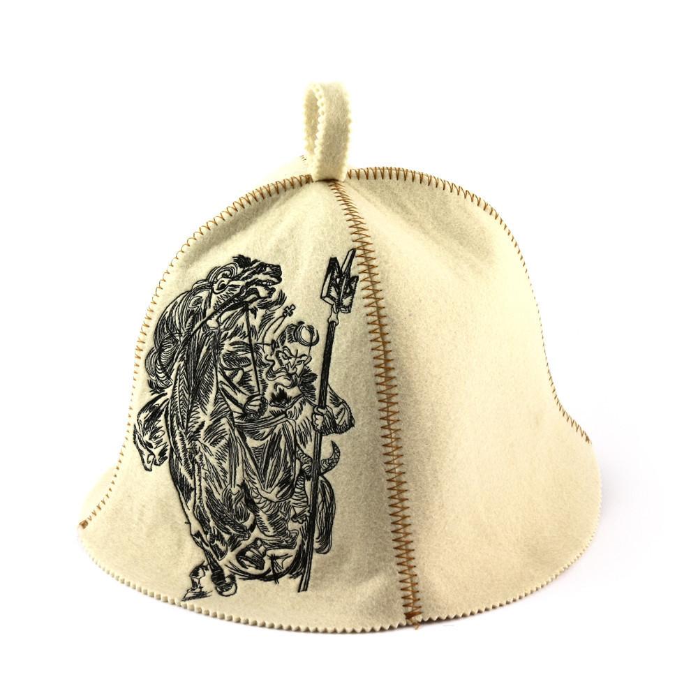 """Банна шапка Luxyart """"Патріот"""", штучне хутро, білий (LA-378)"""