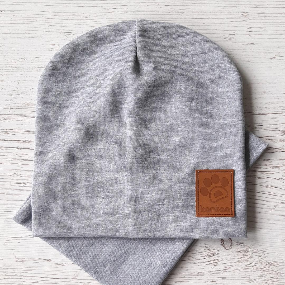 Детская шапка с хомутом КАНТА размер 52-56, серый (OC-136)