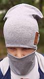 Детская шапка с хомутом КАНТА размер 52-56, серый (OC-136), фото 3