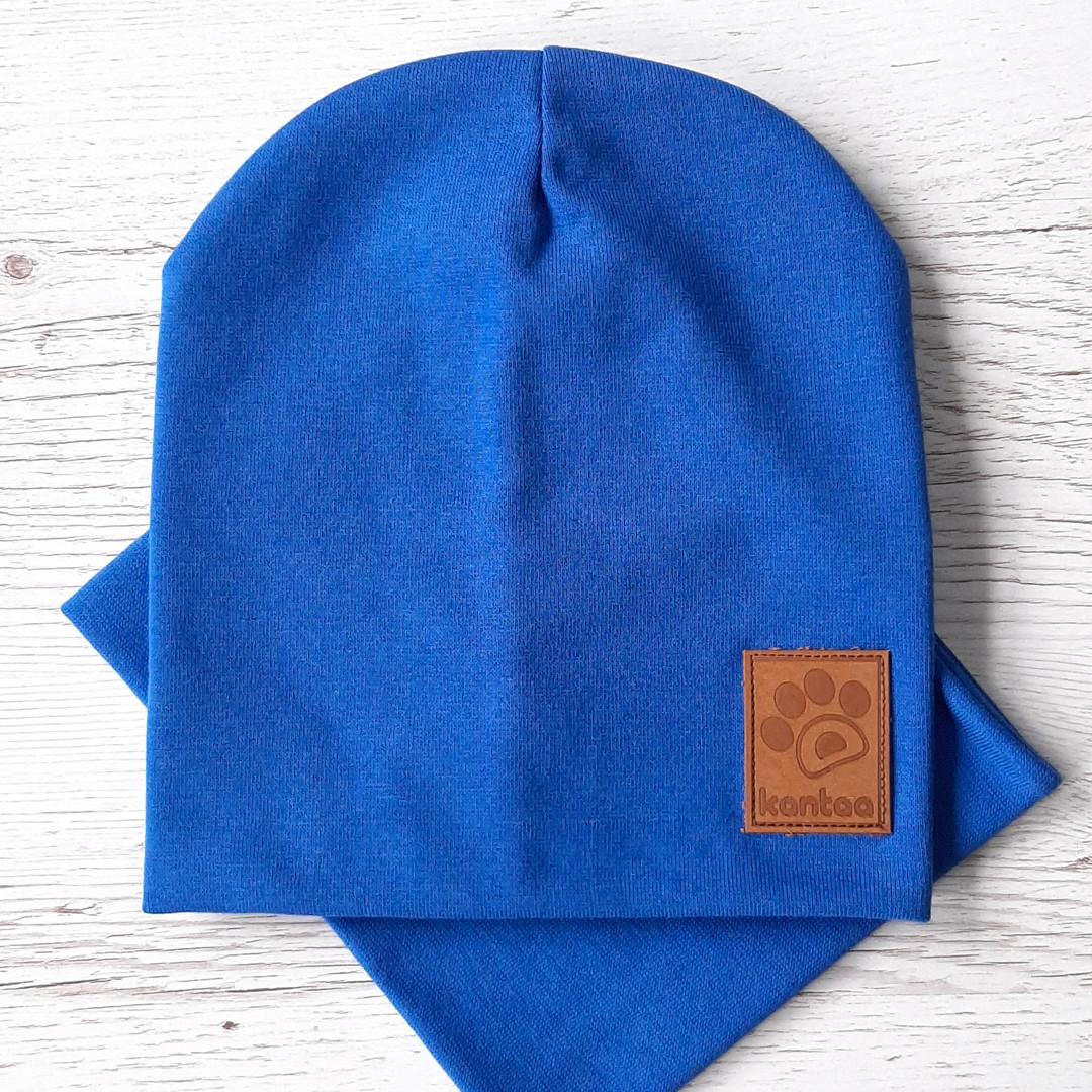 Детская шапка с хомутом КАНТА размер 48-52, голубой (OC-138)