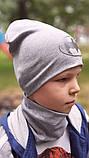 Детская шапка с хомутом КАНТА размер 52-56, серый (OC-175), фото 3