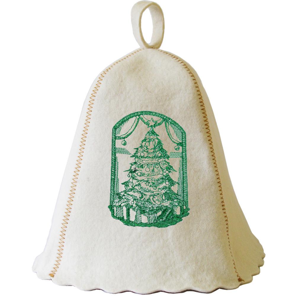 """Банна шапка Luxyart """"Ялинка і подарунки"""", натуральний войлок, біла (LA-487)"""
