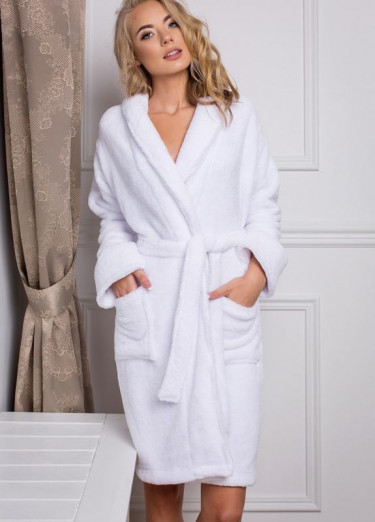Махровый халат Luxyart, 100% хлопок, 400-420 гр/м2, белый, размер XXXL (E-25010)