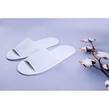 Одноразовые махровые тапочки для отелей Luxyart, белый, открытые, в упаковке 50 шт (ZF-134)