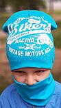 Детская шапка с хомутом КАНТА размер 48-52, голубой (OC-234), фото 2