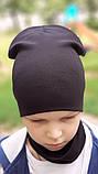 Детская шапка с хомутом КАНТА размер 52-56, черный (OC-238), фото 2