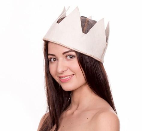 """Банна шапка Luxyart """"Цар"""", натуральний войлок, білий з сірим (LA-079)"""