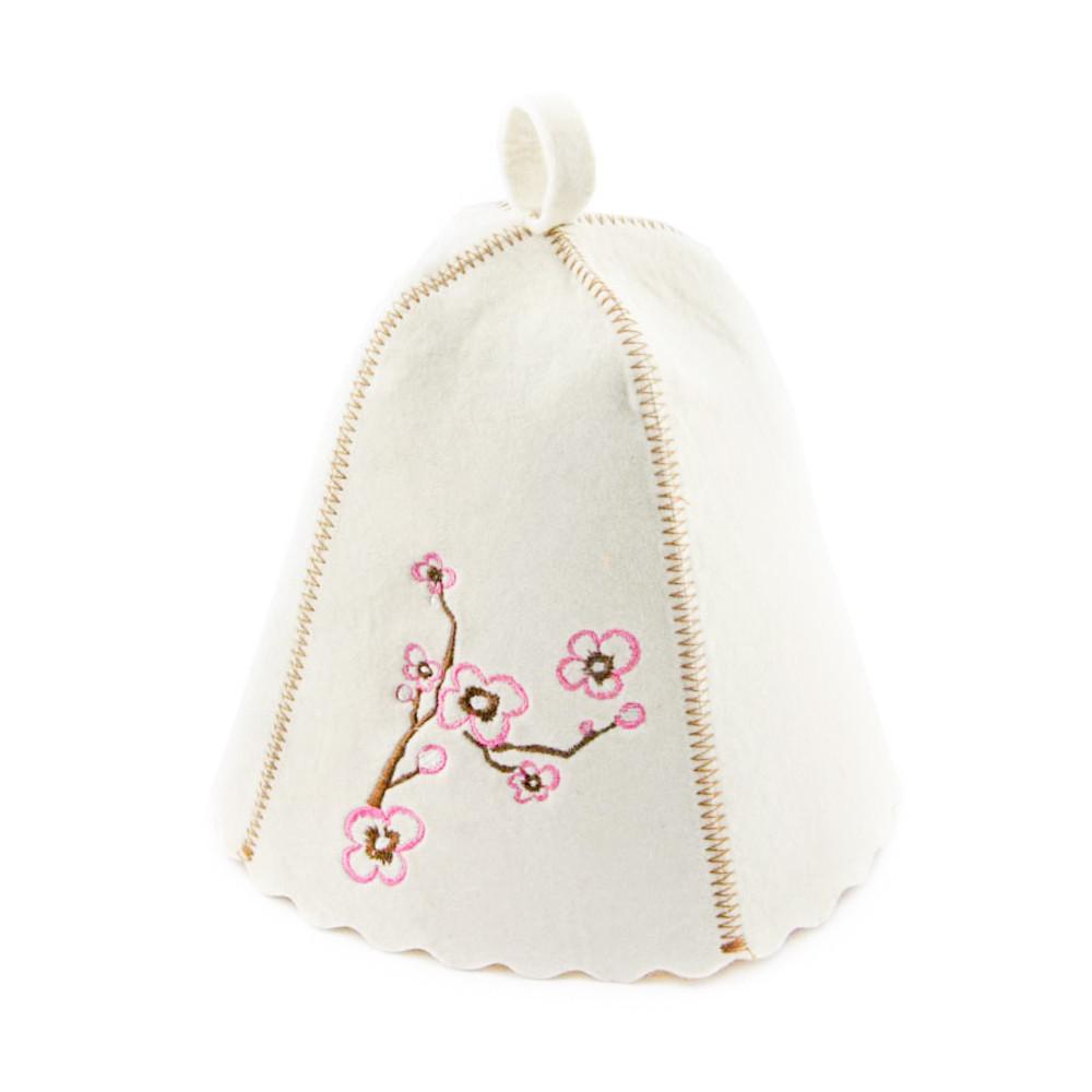 "Банная шапка Luxyart ""Сакура"", натуральный войлок, белый (LA-157)"