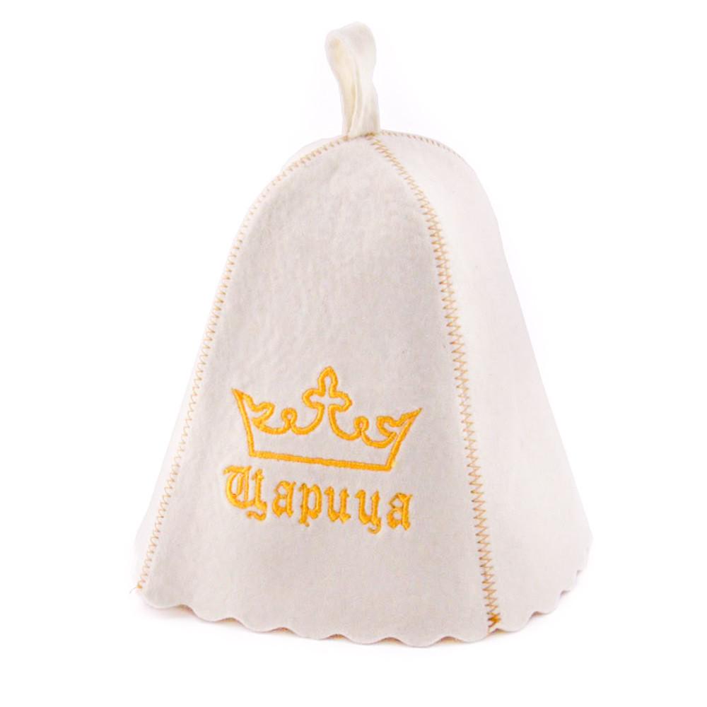 """Банна шапка Luxyart """"Цариця"""", натуральний войлок, білий (LA-166)"""