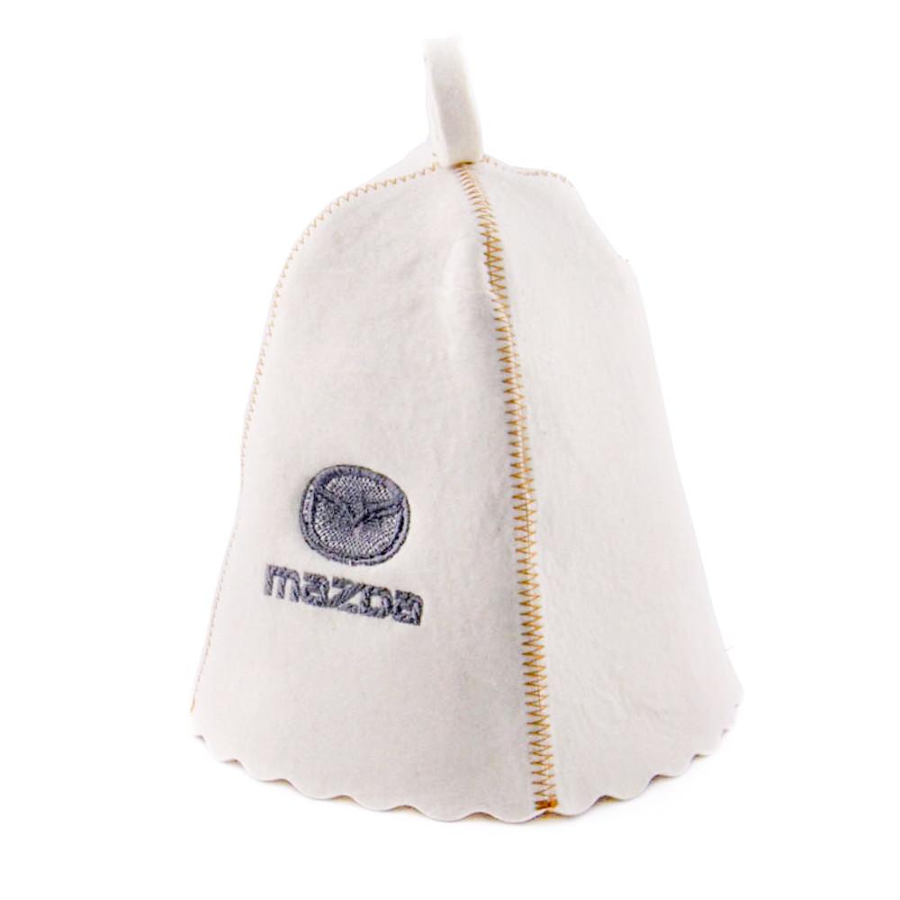 """Банная шапка Luxyart """"Mazda"""", натуральный войлок, белый (LA-198)"""