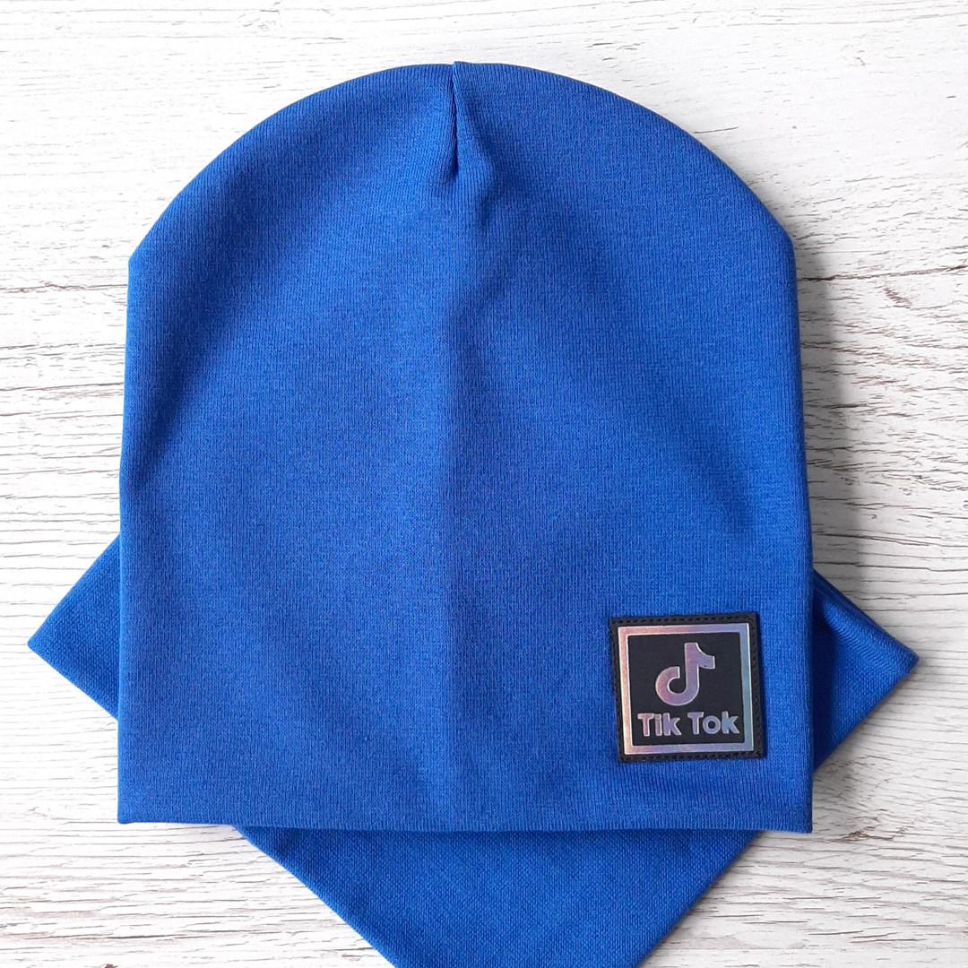 Детская шапка с хомутом КАНТА размер 52-56, синий (OC-253)