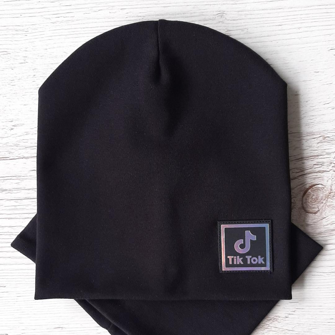 Детская шапка с хомутом КАНТА размер 52-56, черный (OC-265)
