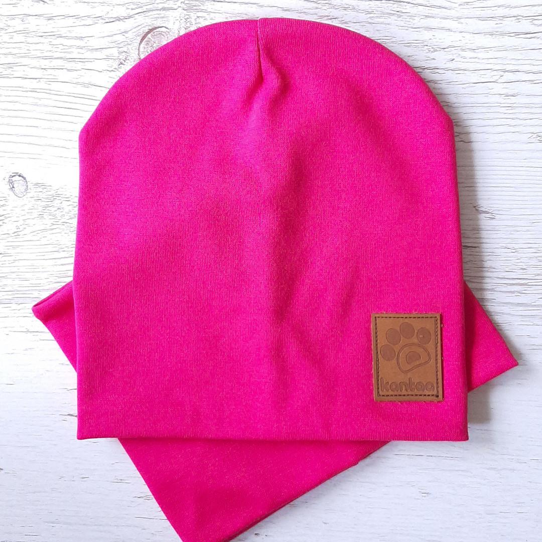 Детская шапка с хомутом КАНТА размер 48-52, малиновый (OC-267)