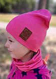 Детская шапка с хомутом КАНТА размер 48-52, малиновый (OC-267), фото 3