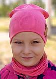 Детская шапка с хомутом КАНТА размер 48-52, малиновый (OC-267), фото 5